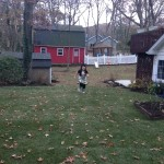 Our Daughter, Lorilei, running over the ground that was the location of the pond.