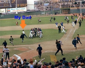 My Dad, forgetting he was security and rushing the mound right after the Mets won the World Series in 1969.